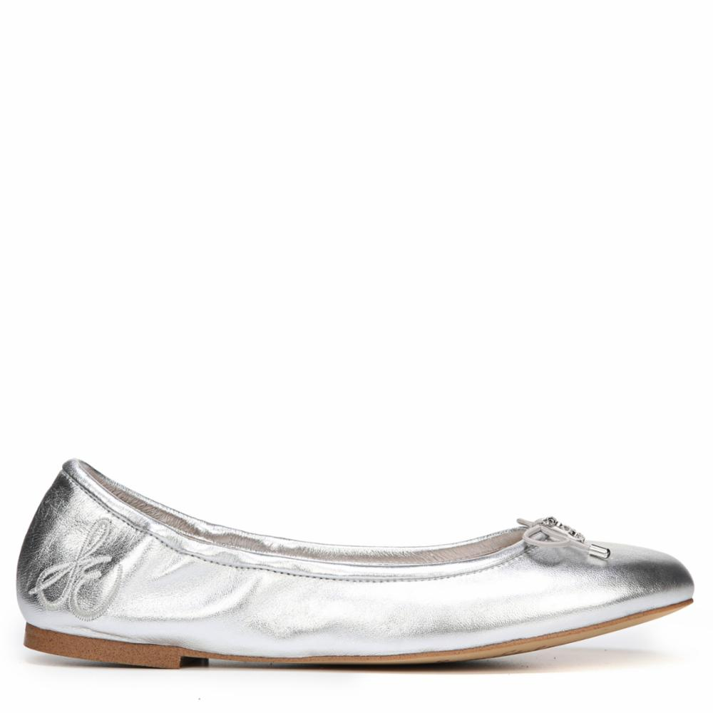 c694634b1ee46 Sam Edelman Felicia Womens Size 6 Silver Leather Ballet Flats Shoes ...